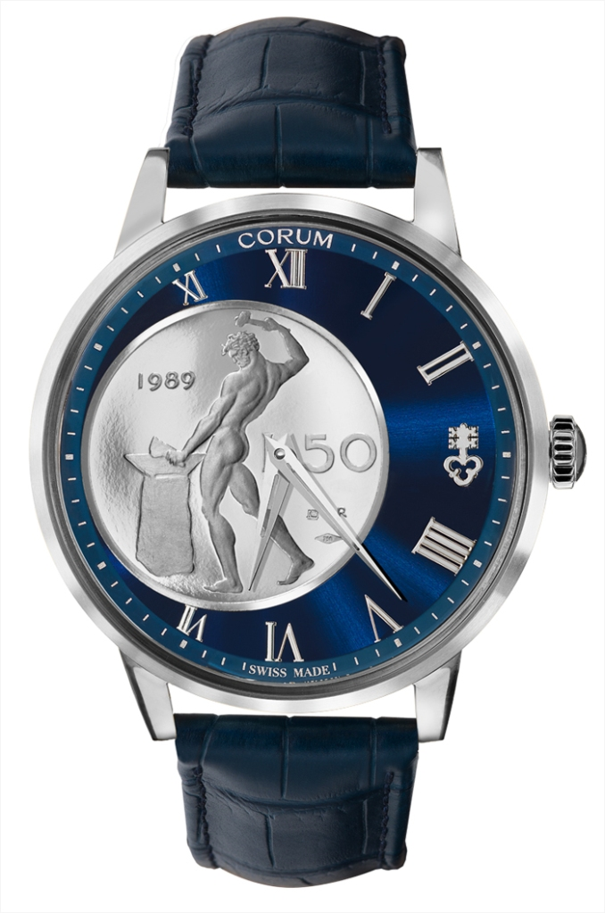 Corum Watch model Heritage 50 Lire Vulcano at Auction, Blue & Silver - Men - 2020