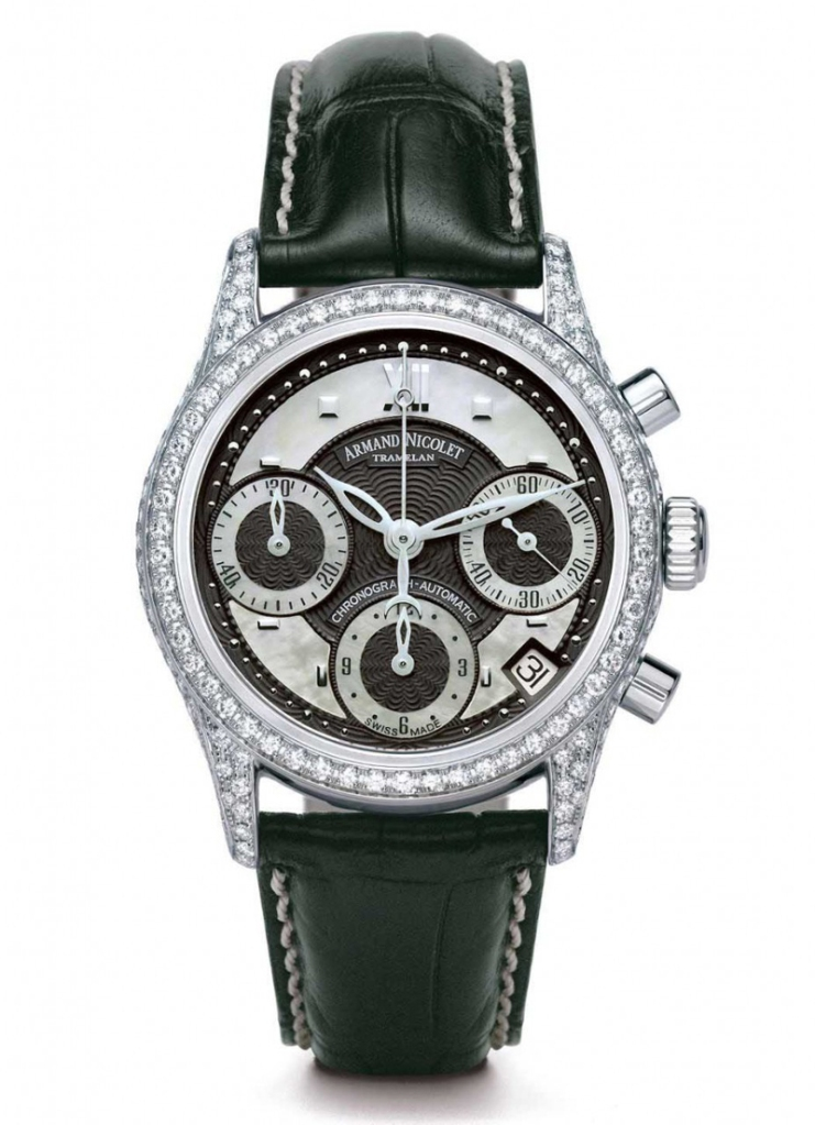 Armand Nicolet Watch model M03 Damen at Auction, Chronograph Automatic Date - 90 Top Wesselton Diamonds - Women - 2011-present
