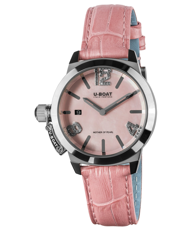 U-Boat Watch model Precious Classico 38 mm at Auction, Pink Mother of Pearl Leather Strap - 8480 - Women - Brand New