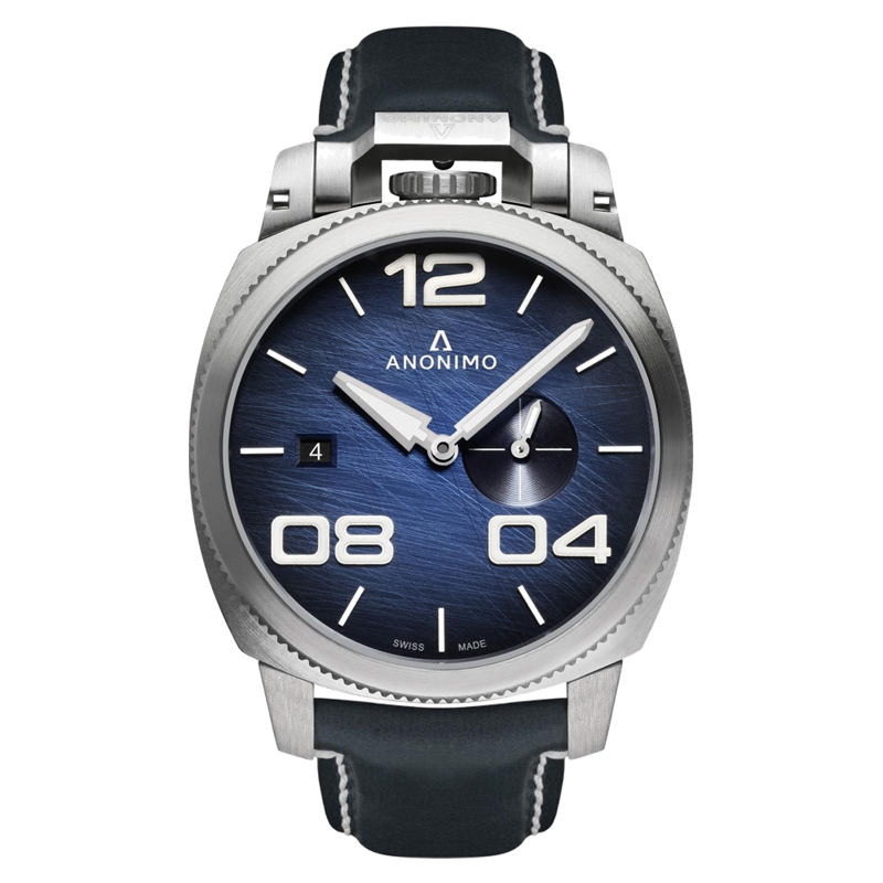 Anonimo Watch model Automatic Military Navy at Auction, Blue Steel with Hand Made Italian Leather Strap - Men - Brand New